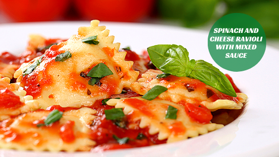Spinach and cheese Ravioli with mixed sauce